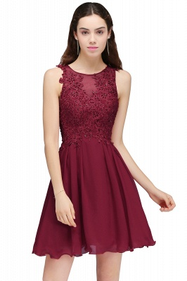 CARLEE | A-line Jewel Short Chiffon Burgundy Homecoming Dresses with Lace Appliques_3