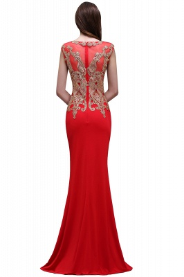 Sheath Round Neck Floor-Length Red Prom Dresses With Applique_3