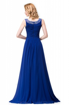 ESMERALDA | A-line Sleeveless Crew Floor-Length Chiffon Prom Dresses with Crystals_5