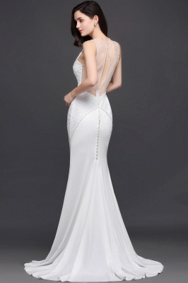Mermaid Scoop Chiffon White Evening Dress With Beadings_7