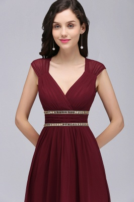 ALISON | Sheath V Neck Burgundy Chiffon Long Evening Dresses With Beads_14