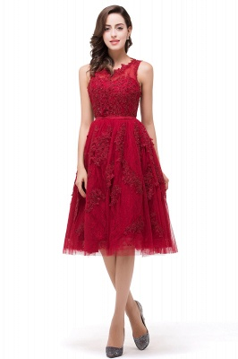 A-Line Knee-Length Red Lace Tull Prom Dresses with sequins_4
