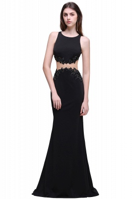 Sheath Round Neck Floor-Length Black Prom Dresses With Crystal_1
