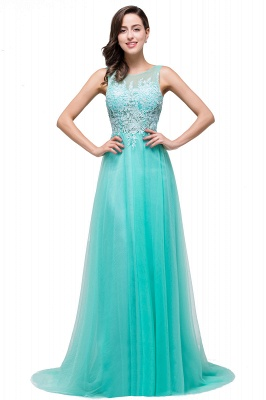 ABRIL | A-line Court Train Tulle Evening Dress with Appliques_9