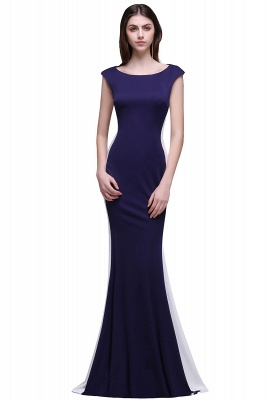 Sheath Scoop Floor-Length Dark Navy Evening Dresses