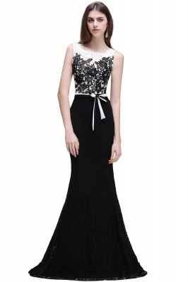 BRYNN | Mermaid Scoop Neckline Lace Black and White Elegant Prom Dresses with Bowknot Sash_1