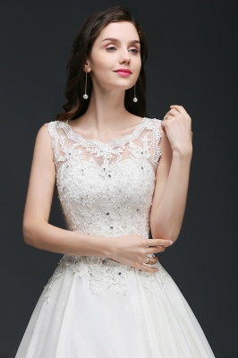 A-line Sweep Train Elegant Wedding Dress With Beading_7