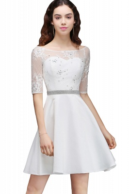 A Line Jewel White Short Sleeve Satin Homecoming Dresses With Lace_6