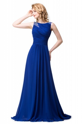 ESMERALDA | A-line Sleeveless Crew Floor-Length Chiffon Prom Dresses with Crystals_4