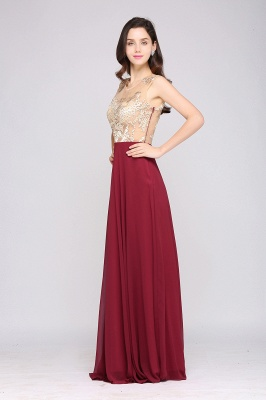 A-line Scoop Chiffon Burgundy Pretty Evening Dresses_5