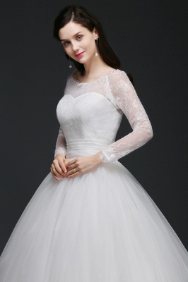 Princess Scoop Tulle White Wedding Dress With Lace_4