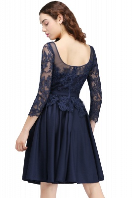 A-line Sheer Neck Short Dark Navy Homecoming Dresses with Lace Appliques_3