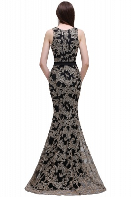 Sheath Round Neck Floor-Length Lace Evening Dresses_3