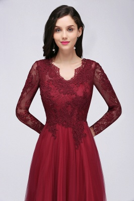 DYLAN | A-line V-neck Long Sleeves Lace Tulle Backless Prom Dresses_8