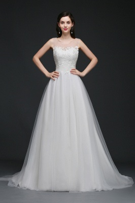 A-line Scoop Tulle Elegant Wedding Dress With Lace