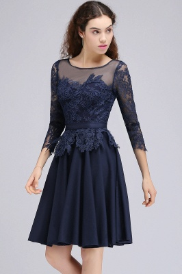 A-line Sheer Neck Short Dark Navy Homecoming Dresses with Lace Appliques_5