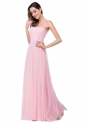 ELLIS | A-line Sweetheart Floor-length Pink Tulle Ruffles Bridesmaid Dresses_8