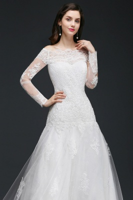 ADELYNN | A-line Sweep-train Ivory Wedding Dress with Lace_6