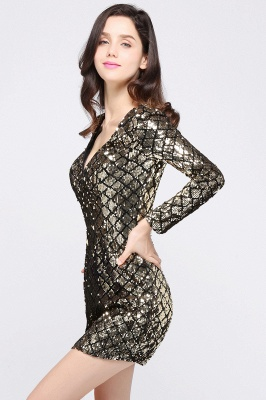 ALONDRA | Sheath V-Neck Sequins Cocktail Dresses_2