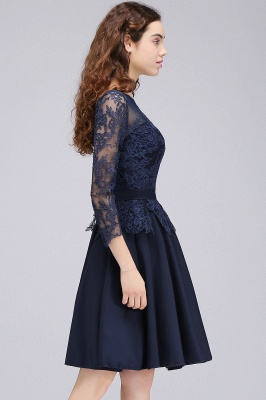 A-line Sheer Neck Short Dark Navy Homecoming Dresses with Lace Appliques_7