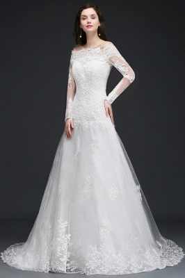 ADELYNN | A-line Sweep-train Ivory Wedding Dress with Lace_2