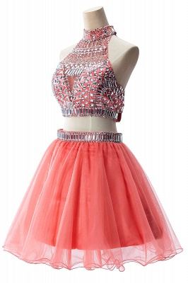 ELISE | Two-piece Halter Sleeveless Short Tulle Prom Dresses with Crystal Beads_12