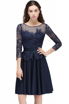 A-line Sheer Neck Short Dark Navy Homecoming Dresses with Lace Appliques_1