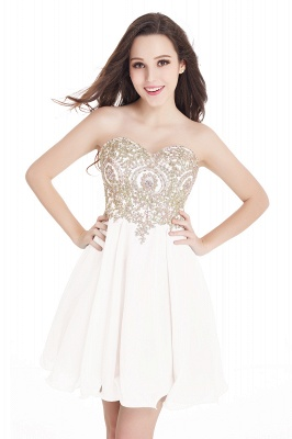 CYNTHIA | A-Line Strapless Short Chiffon Prom Dresses with Beadings_1