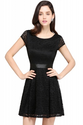 ARMANI | A-line Scoop Black Lace Homecoming Dress with Sash