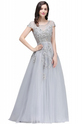 A-line Crew Short Sleeves Floor-length Appliques Tulle Prom Dresses_5