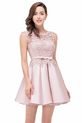 ADELAIDE | A-line Knee-length Satin Homecoming Dress with Lace_8