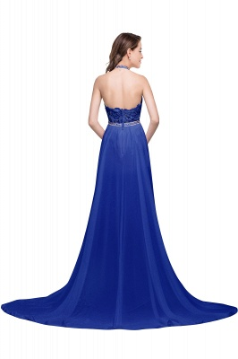 ADELE | A-line Halter Chiffon Evening Dress with Lace_8
