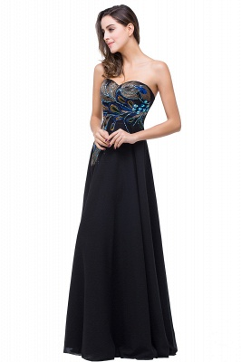 ADALYNN | A-line Sweetheart Black Evening Dress with Embroidery_1