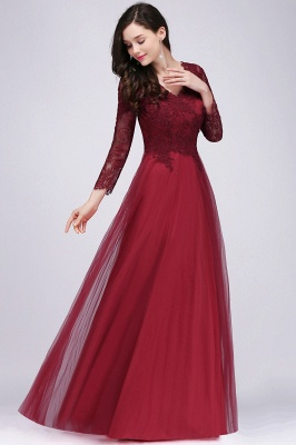 DYLAN | A-line V-neck Long Sleeves Lace Tulle Backless Prom Dresses_6