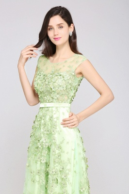 A-line Floor Length Tulle Green Prom Dresses with Appliques_4