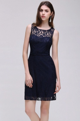 CHARLEIGH |Sheath Sleeveless Navy Blue Lace Short Prom Dresses_1