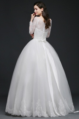 Princess Scoop Tulle White Wedding Dress With Lace_8