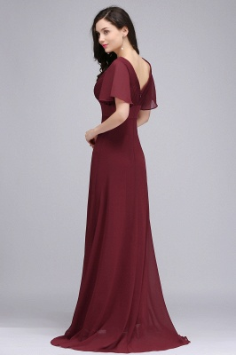 COLETTE | A-line Floor-length Chiffon Burgundy Prom Dress with Soft Pleats_9