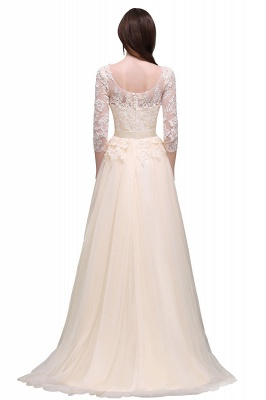AUBREY | A-line Scoop Champagne Prom Dress With Sleeve_6