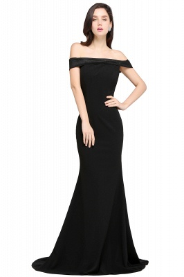Mermaid Sweep Train Off The Shoulder Black Evening Dresses_1