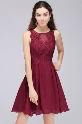 CARLEE | A-line Jewel Short Chiffon Burgundy Homecoming Dresses with Lace Appliques_9