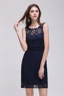 CHARLEIGH |Sheath Sleeveless Navy Blue Lace Short Prom Dresses_4