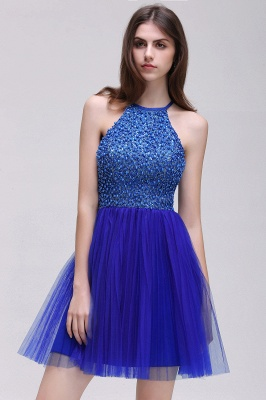 CAITLYN | A-line Halter Neck Short Tulle Royal Blue Homecoming Dresses with Beading_4