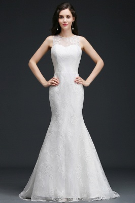 Mermaid Sweep Train Lace New Arrival Wedding Dresses with Buttons