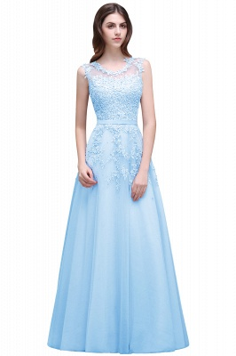 ADDILYN | A-line Floor-length Tulle Prom Dress with Appliques_5
