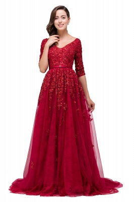 A-Line Floor-Length V-neck Half Sleeves Lace Appliques Prom Dresses_4