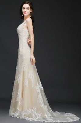 A-line V-Neck Sweep Train Champagne Prom Dresses with Buttons_6
