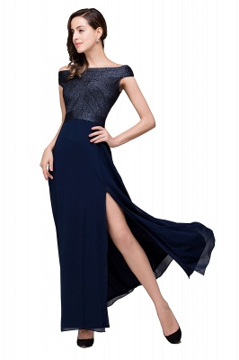 Sheath Off Shoulder Floor-Length Chiffon Prom Dresses_1