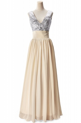 AISLINN | A-line V-neck Chiffon Party Dress With  Sequined_3