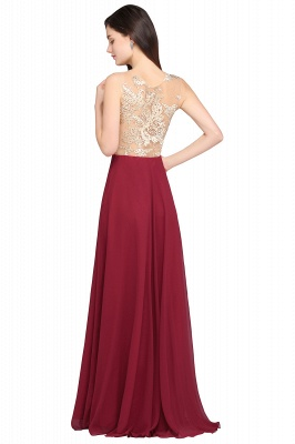 A-line Scoop Chiffon Burgundy Pretty Evening Dresses_3